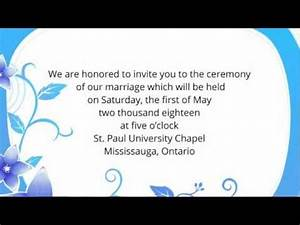 Wedding invitation wording etiquette examples youtube for Wedding invitation quotes in english for sister marriage