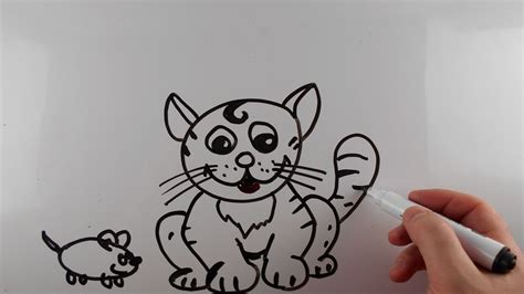 draw cat  mouse step  step  easy  kids