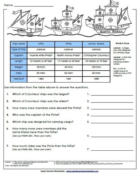 columbus day math worksheets columbus day crafts and