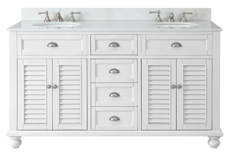 62 Inch Bathroom Vanity Cottage Beach Style Snow White