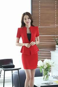 New 2016 Summer Formal Red Blazer Women Business Suits Short Sleeve Skirt And Jacket Sets