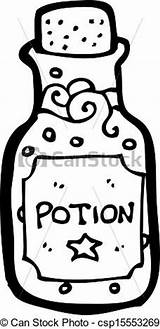 Potion Clip Bottle Template Magic Cartoon Coloring Clipart Outline sketch template