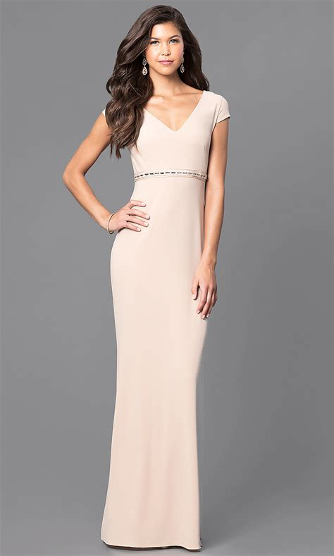 cap sleeve  neck long prom dress promgirl