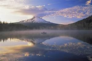 Lake, Nature, Landscape, Mountain, Mist, Boat, Reflection