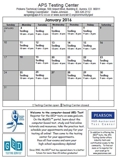 ged testing schedule january aurora public schools
