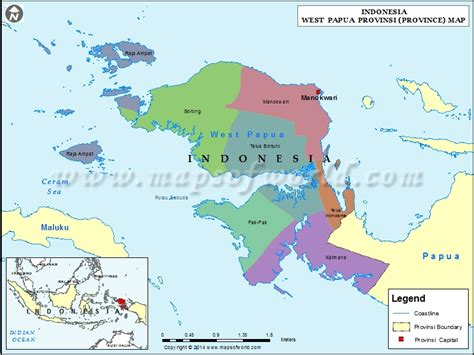 west papua map map  west papua province indonesia