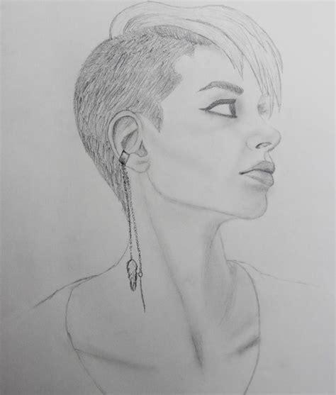 drawing  shaved head punk girl undercut hairstyle