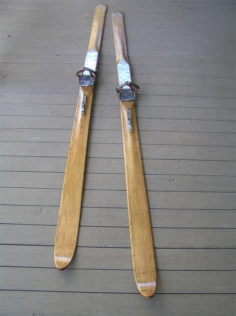 vintage wooden snow skis   gresvigs kandahar