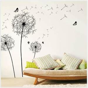 diy new design large black dandelion wall sticker art With chambre bébé design avec stickers fleur de pissenlit