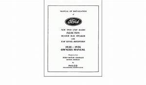 1935 1936 Ford Radio Factory Owners Instruction Operating Users Guide With Complete Installation Instruction And Wiring Diagrams 35 36
