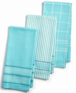 3 Pc Jacquard Striped Cotton Kitchen Towels Everything