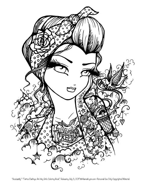 tattoo darlings  sample coloring page rockabilly girl  hannah lynn coloring pages