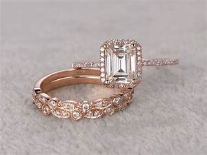 3pcs Emerald Cut Moissanite Engagement Rings Diamond ...