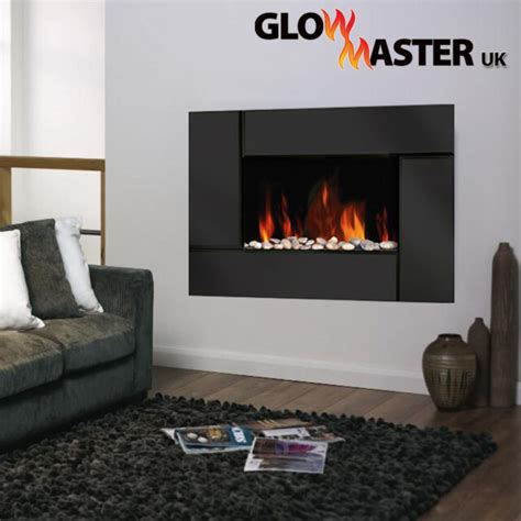 led electric fire wall mounted fireplace black glass