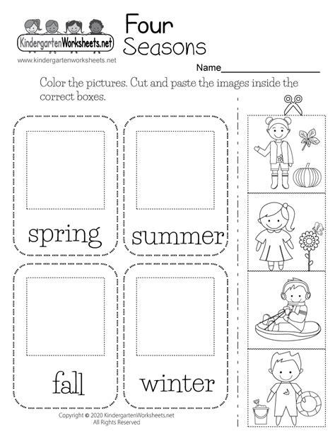 seasons worksheet  kindergarten  printable