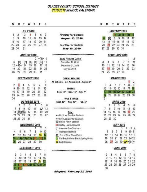 gcsd approved school calendar glades county schools
