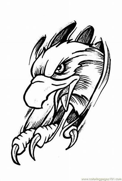 Tattoo Coloring Printable Eagle Eagles Pages Prev