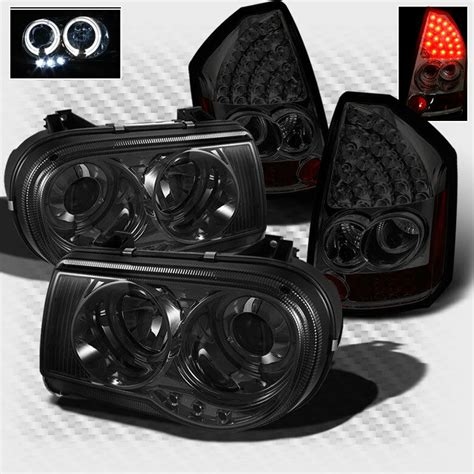 Halo Lights For Chrysler 300 by For Smoked 05 07 Chrysler 300c Halo Led Pro Headlights