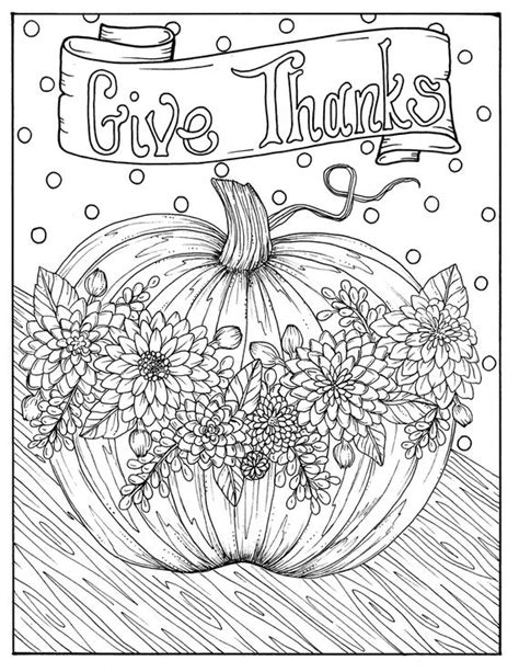 Give Thanks Digital Coloring page Thanksgiving harvest | Etsy