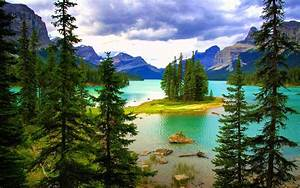 Beautiful, Landscape, Hd, Wallpaper, Turquoise, Blue, Lake, Island, Green, Pine, Forest, Mountains, Clouds