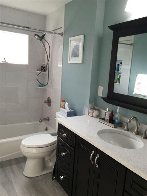 bathroom bm wedgewood grey paint grey wood tile