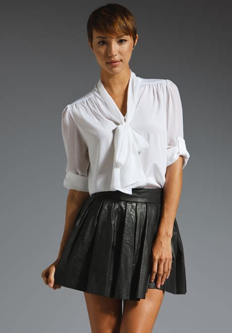 tie blouse arie tie neck blouse in white lyst