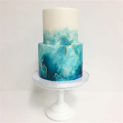 watercolor with a touch of gold cake dessert