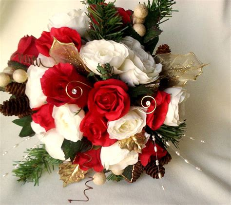 Winter Bridal Bouquet Red Ivory Silk Wedding Flowers Pine