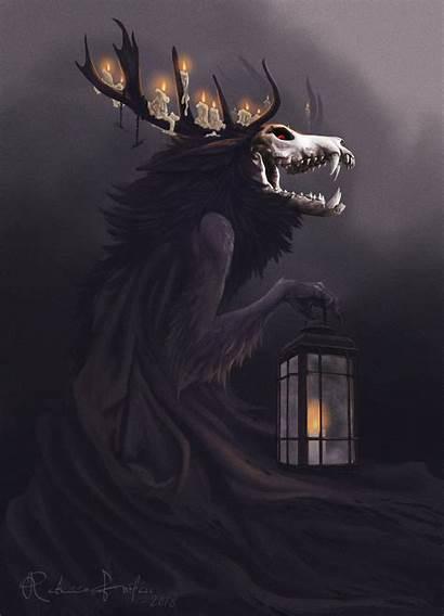 Wendigo Artstation Rebecca Wallpapers Creatures Skull Fantasy