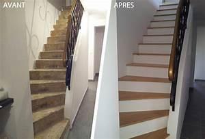 Renover Un Escalier En Bois : habillage d 39 un escalier en b ton avec des marches en bois ~ Premium-room.com Idées de Décoration