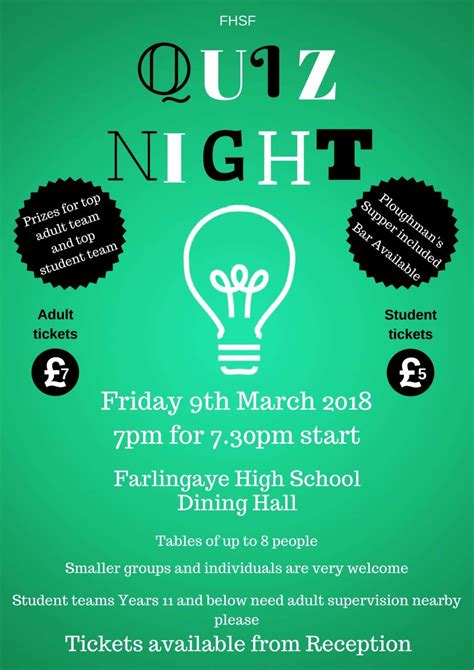 farlingaye high school quiz night  march