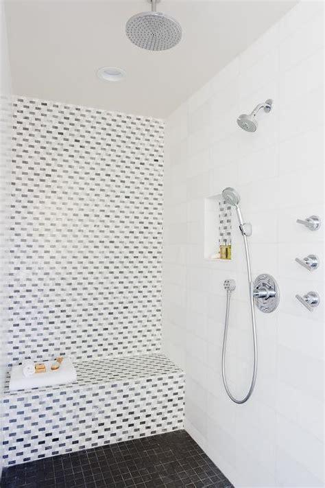 Black Hex Tile Shower NIche   Contemporary   Bathroom