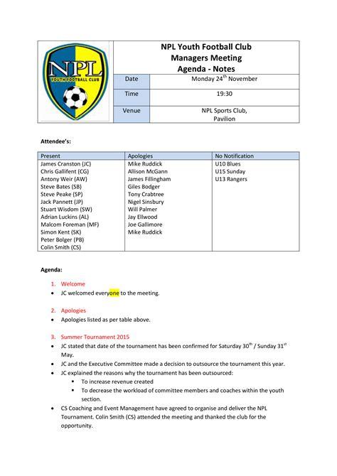 football club meeting agenda templates