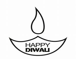 Diwali Diya Clipart Black And White - ClipartXtras