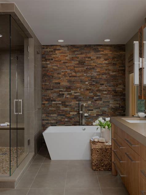 contemporary bathroom decor ideas accent wall ideas bathroom contemporary with brown tile
