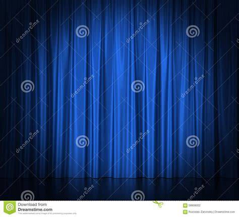blue silk curtains for theater and cinema spotlit stock