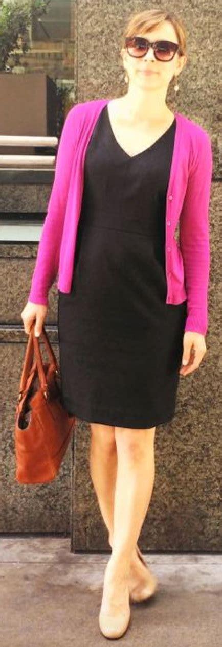 Outfit post twofer black dress pink cardigan nude pumps ...