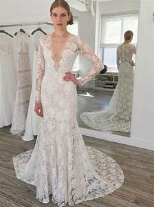 sheath v neck long sleeves sweep train lace wedding dress With long sleeve v neck wedding dress