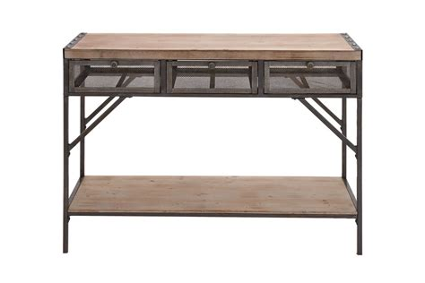 metal console table with drawers industrial inspired iron wood 3 drawer console table by uma
