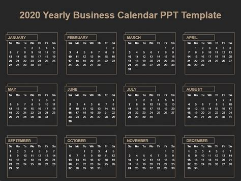 yearly business calendar template powerpoint shapes