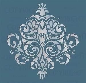 LARGE WALL DAMASK STENCIL PATTERN FAUX MURAL #1010 eBay