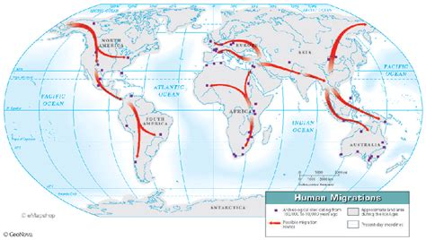 human migration    physical map  shows