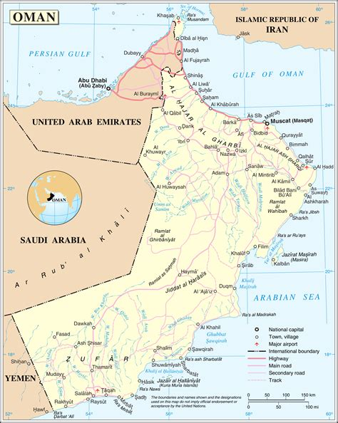 Detailed Political Map Of Oman Oman Detailed Political