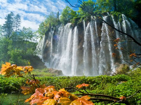 plitvice lakes national park travel trees waterfall hd