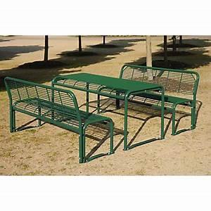 Mobilier D Extérieur : mobilier d ext rieur en acier bancs et table ~ Teatrodelosmanantiales.com Idées de Décoration