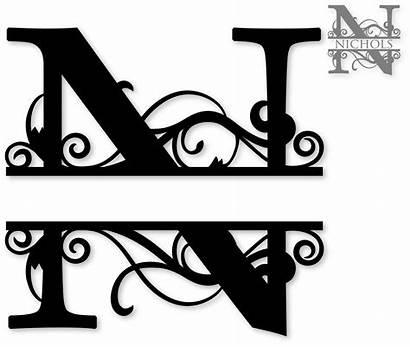 Monogram Split Clipart Letter Clip Letters Fonts