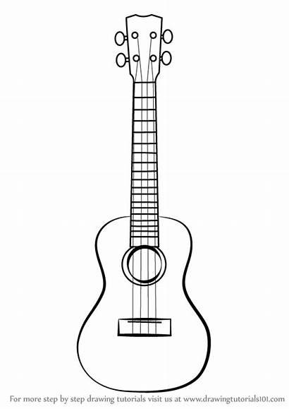 Ukulele Draw Drawing Step Instruments Guitar Musical