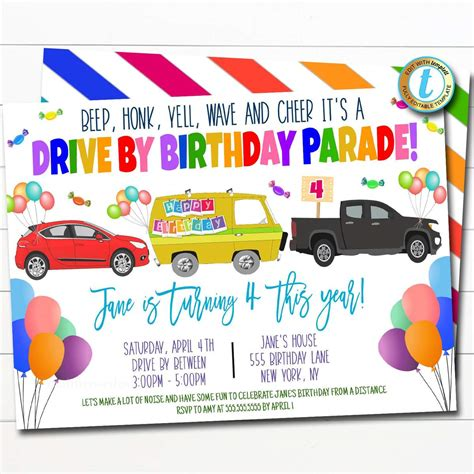 Drive By Birthday Parade Invitation TidyLady Printables