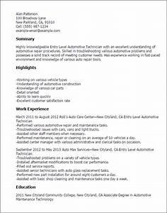 professional entry level automotive technician templates With automotive resume