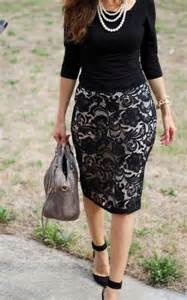 Church Black Pencil Skirt Outfits